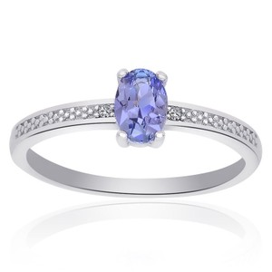 Avital & Co Jewelry Sterling Silver Tanzanite and Diamond Accent Ring