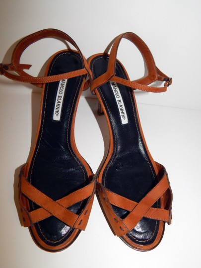 Manolo Blahnik Nubuck Suede Strappy Brown Sandals Image 1