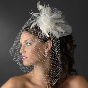 Elegance by Carbonneau White Or Ivory Birdcage Russian with Feathers & Austrian Crystals On Comb Bridal Veil