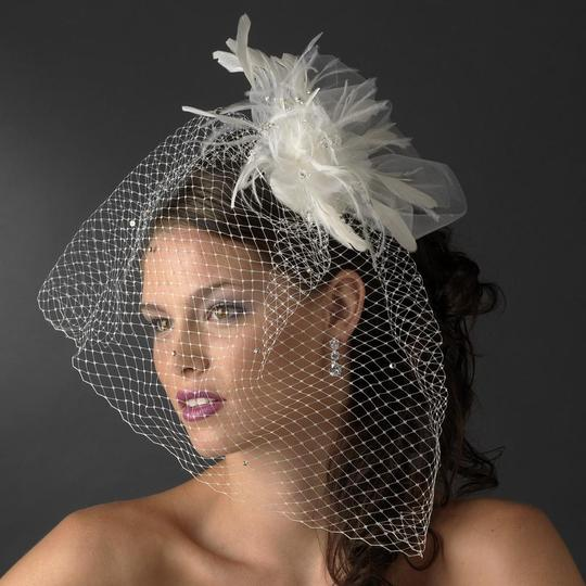 Elegance by Carbonneau White Or Ivory Birdcage Russian with Feathers & Austrian Crystals On Comb Bridal Veil Image 1