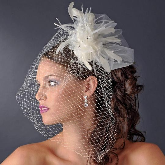Elegance by Carbonneau White Or Ivory Birdcage Russian with Feathers & Austrian Crystals On Comb Bridal Veil Image 2