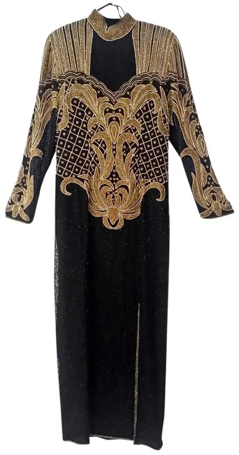 Preload https://img-static.tradesy.com/item/23925698/black-and-gold-beaded-evening-gown-long-formal-dress-size-14-l-0-1-650-650.jpg