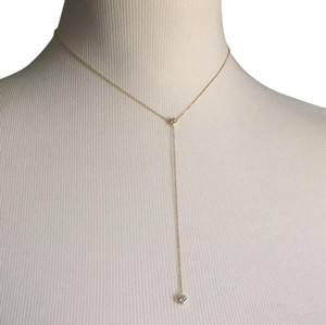 14K Yellow Gold Lariat Necklace Chain Choker With CZ 14K Yellow Gold Lariat Necklace with 2 CZ Stones