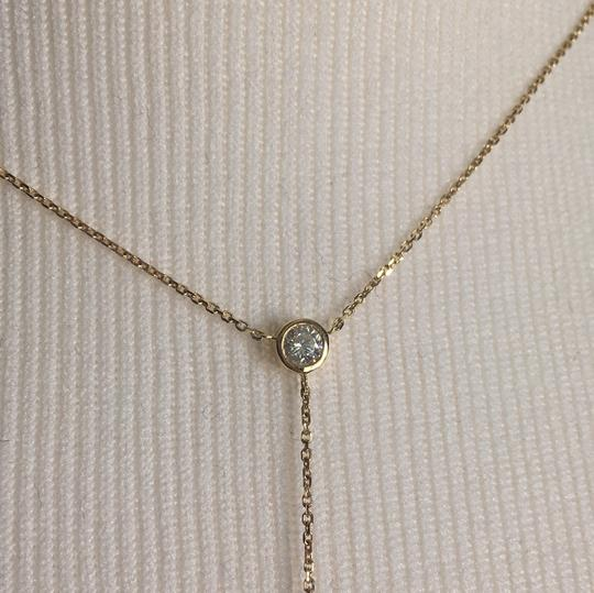 14K Yellow Gold Lariat Necklace Chain Choker With CZ 14K Yellow Gold Lariat Necklace with 2 CZ Stones Image 1