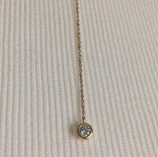 14K Yellow Gold Lariat Necklace Chain Choker With CZ 14K Yellow Gold Lariat Necklace with 2 CZ Stones Image 2