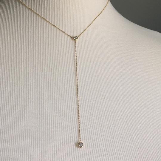 14K Yellow Gold Lariat Necklace Chain Choker With CZ 14K Yellow Gold Lariat Necklace with 2 CZ Stones Image 3