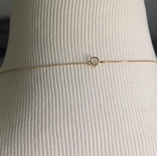 14K Yellow Gold Lariat Necklace Chain Choker With CZ 14K Yellow Gold Lariat Necklace with 2 CZ Stones Image 4