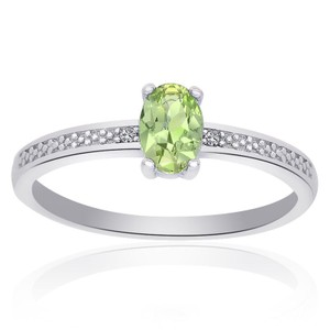 Avital & Co Jewelry Sterling Silver Peridot Diamond Accent Ring