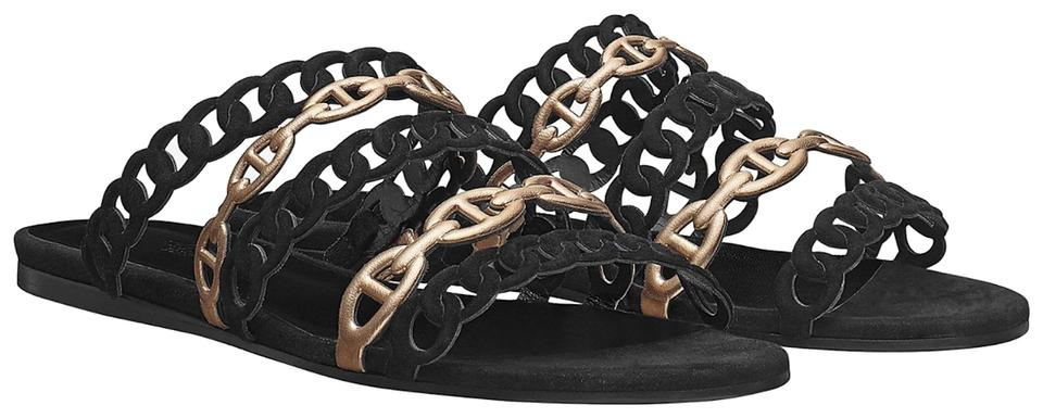 Hermès Black Suede/Leather New Chaine D'ancre Black/Champagne Suede/Leather Black 38.5 Sandals 49743b