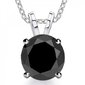 Madina Jewelry Black 2.00 Ct Ladies Diamond Solitaire Pendant / Necklace
