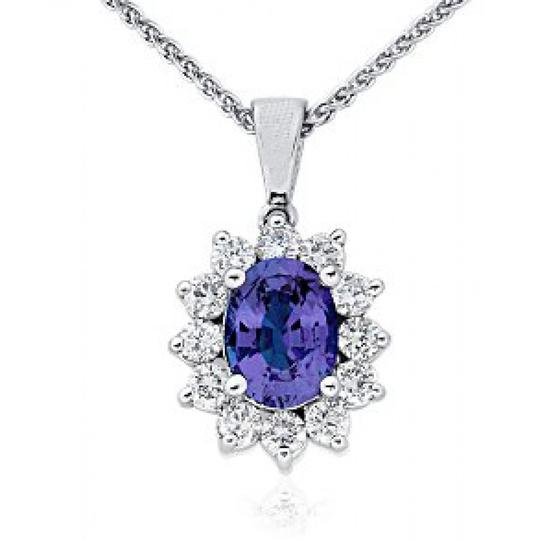 Madina Jewelry White 3.00 Ct Ladies Sapphire and Diamond Pendant Necklace Image 2