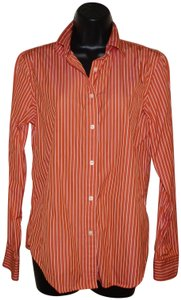 Lauren Ralph Lauren Button Striped Cotton Machine Washable Button Down Shirt Orange and White