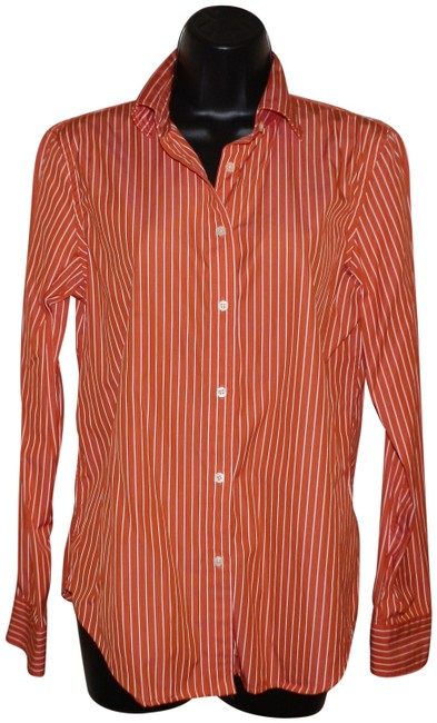 Preload https://img-static.tradesy.com/item/23925992/lauren-ralph-lauren-orange-and-white-stripe-button-shirt-button-down-top-size-8-m-0-1-650-650.jpg