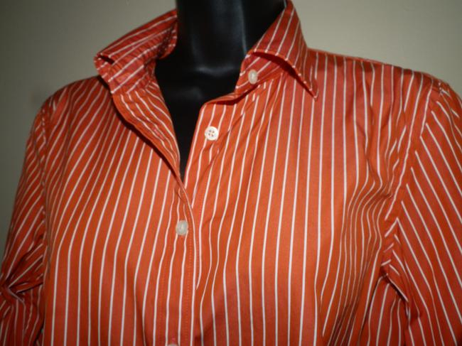 Lauren Ralph Lauren Button Striped Cotton Machine Washable Button Down Shirt Orange and White Image 1