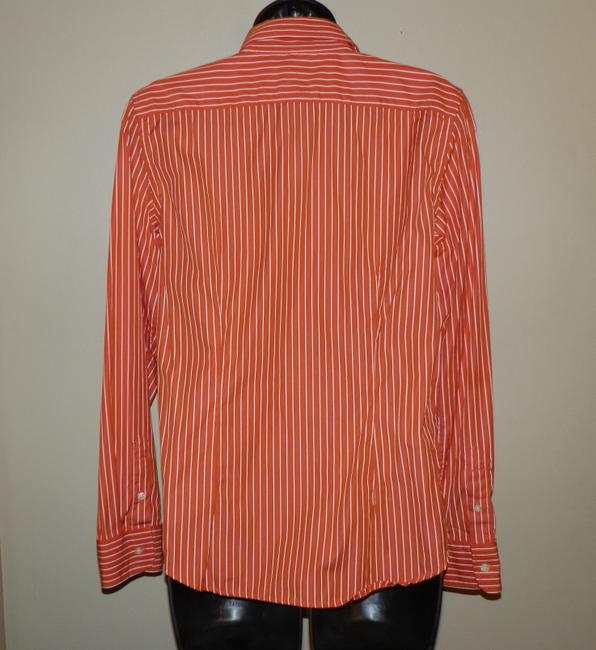Lauren Ralph Lauren Button Striped Cotton Machine Washable Button Down Shirt Orange and White Image 2