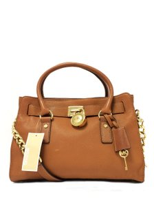 MICHAEL Michael Kors Leather Chain Satchel in Luggage