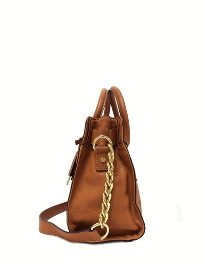 MICHAEL Michael Kors Leather Chain Satchel in Luggage Image 2