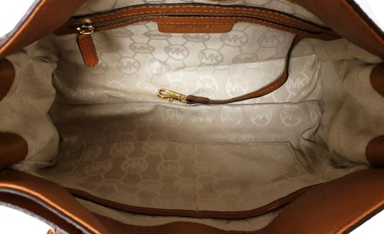 MICHAEL Michael Kors Leather Chain Satchel in Luggage Image 3