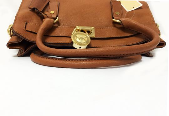 MICHAEL Michael Kors Leather Chain Satchel in Luggage Image 6