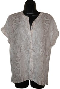 Tahari Snake Button Lightweight Polyester Dryclean Only Button Down Shirt Brown and Light Tan