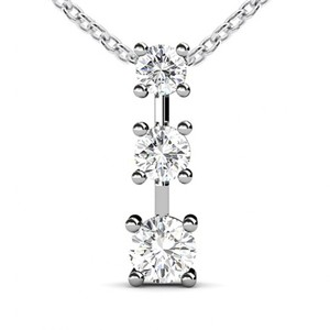 Madina Jewelry White 0.50 Ct Ladies Three Stone Round Cut Diamond Pendant / Necklace