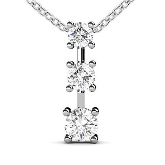 Madina Jewelry White 0.50 Ct Ladies Three Stone Round Cut Diamond Pendant / Necklace Image 1