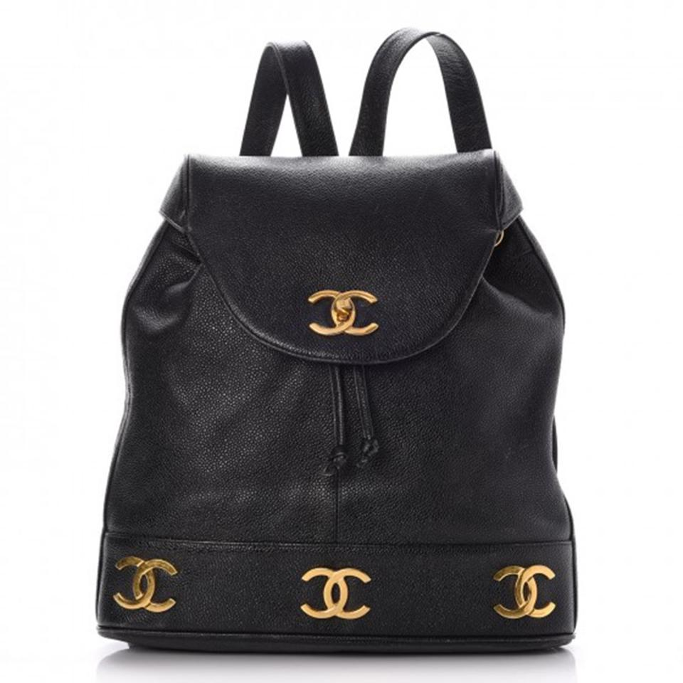 Chanel Drawstring Backpack Vintage Cc Black Caviar Leather Backpack ... 7cdd35f196706