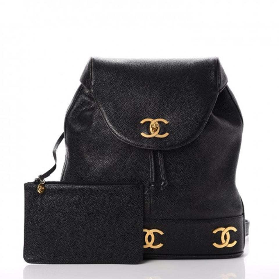 Chanel Drawstring Backpack Vintage Cc Black Caviar Leather Backpack -  Tradesy 562f426eb8