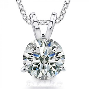 Madina Jewelry White 0.50 Ct Size Ladies Round Cut Cubic Zirconia Soitaire Pendant Necklace