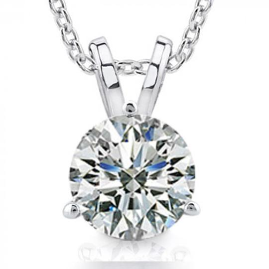 Madina Jewelry White 0.50 Ct Size Ladies Round Cut Cubic Zirconia Soitaire Pendant Necklace Image 2