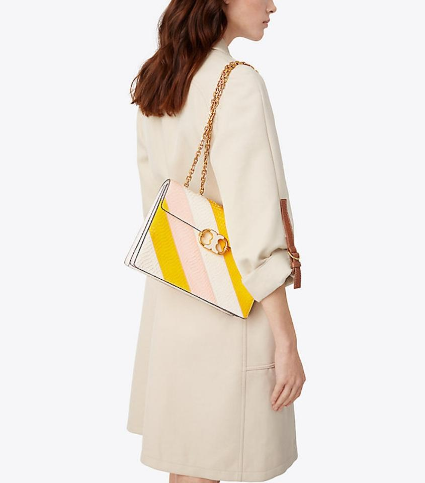 Daisy Cross Purse Tory Body Ivory New Shoulder Link Leather Gemini Pink Burch Snakeskin Rare Yellow Bag wC8qA