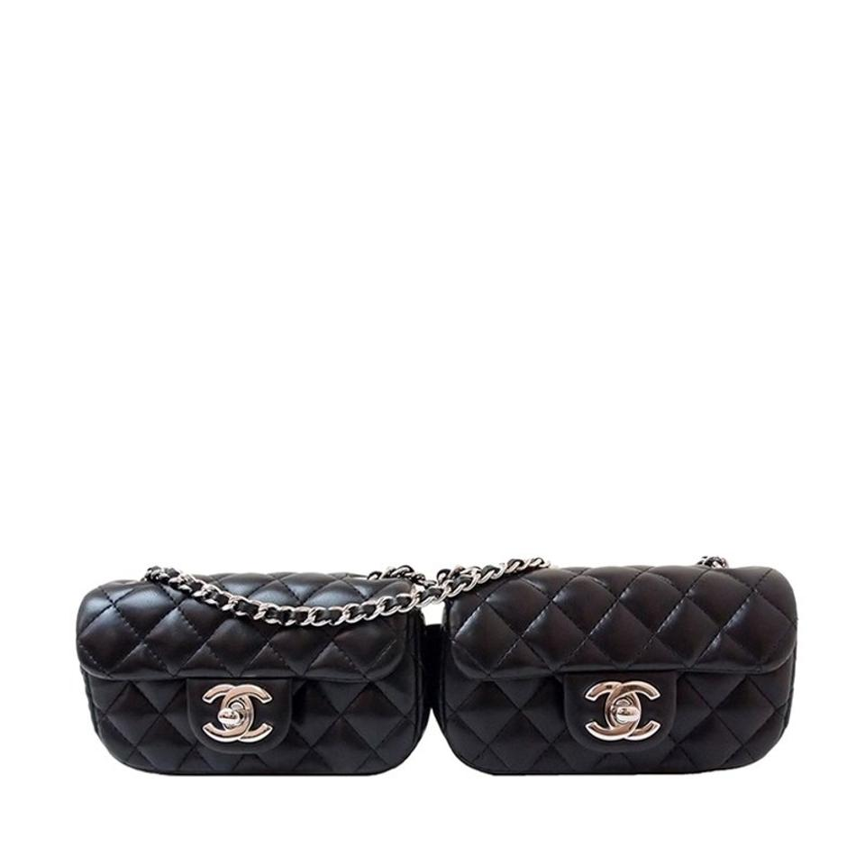 f0d6a7bbff Chanel Classic Flap Quilted Mini Double Black Lambskin Leather Cross Body  Bag