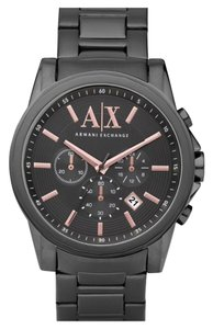A|X Armani Exchange Armani Exchange Men's Gunmetal Ion Plated Stainless Steel Rose Gold Chronograph Watch AX2086