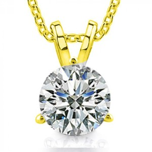Madina Jewelry Yellow 0.65 Ct Ladies Round Cut Diamond Solitaire Pendant / Necklace