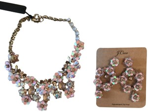 J.Crew J.CREW SET OF FLOWER BLOSSOM STATEMENT NECKLACE AND EARRINGS WARM PINK