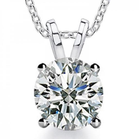 Madina Jewelry White 0.80 Ct Ladies Round Cut Diamond Solitaire Pendant Necklace