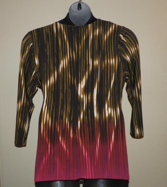 Calvin Klein Faux Wrap Polyester Stretchy Hand Washable V-neck Top Brown, Red & Gold