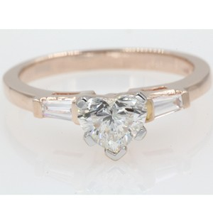 14k Rose Gold .86 Carat Heart Shaped Tapered Baguette Engagement Ring