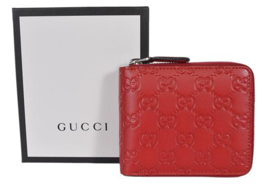 Gucci New Gucci 473964 Red Leather GG Guccissima Zip Around Small Wallet