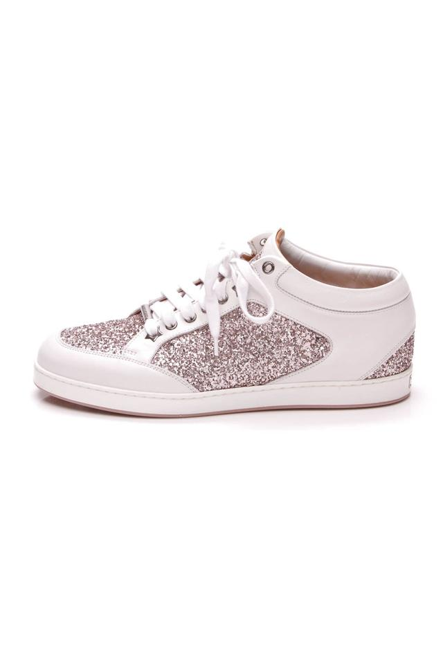 Sneakers White Pink Jimmy Miami Choo Pink White Sneakers Glitter qqOXZ0T