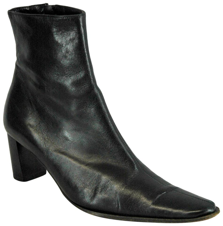 Robert Clergerie Boots/Booties Black Leather Square-toe Ankle Boots/Booties Clergerie 935348