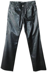 Versace Jeans Collection Trousers Low Rise Legs Straight Pants Black Leather