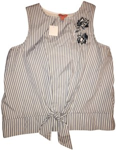 Joe Fresh Pullover Tie Waist Embroidered Sleeveless Striped Top Blue