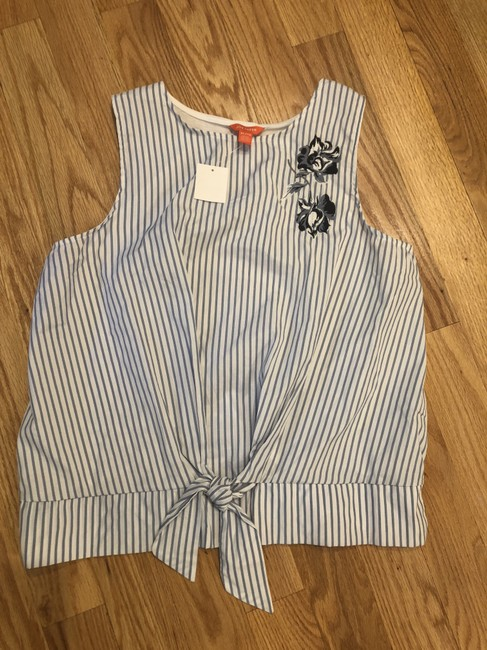 Joe Fresh Pullover Tie Waist Embroidered Sleeveless Striped Top Blue Image 1