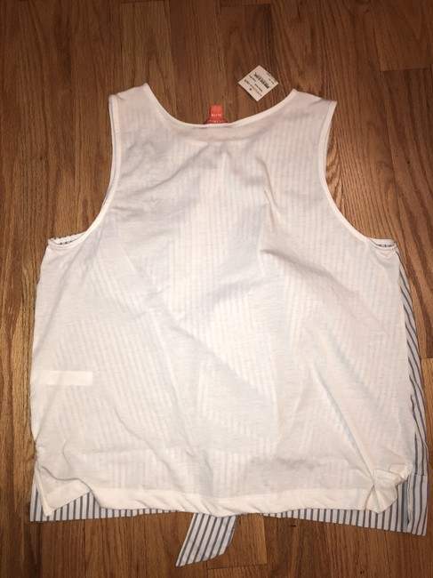 Joe Fresh Pullover Tie Waist Embroidered Sleeveless Striped Top Blue Image 2