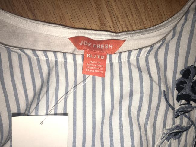 Joe Fresh Pullover Tie Waist Embroidered Sleeveless Striped Top Blue Image 3