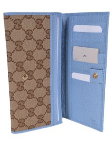 Gucci New Gucci Women's 346058 Beige Blue Canvas Leather Continental Bifold