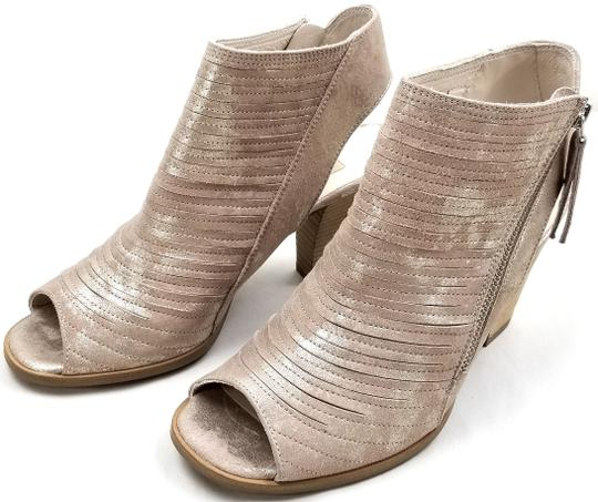 Paul Green Leather Asymmetrical Zipper Open-heel Peep Toe Stitched Leather Blush Metallic Nubuck Sandals