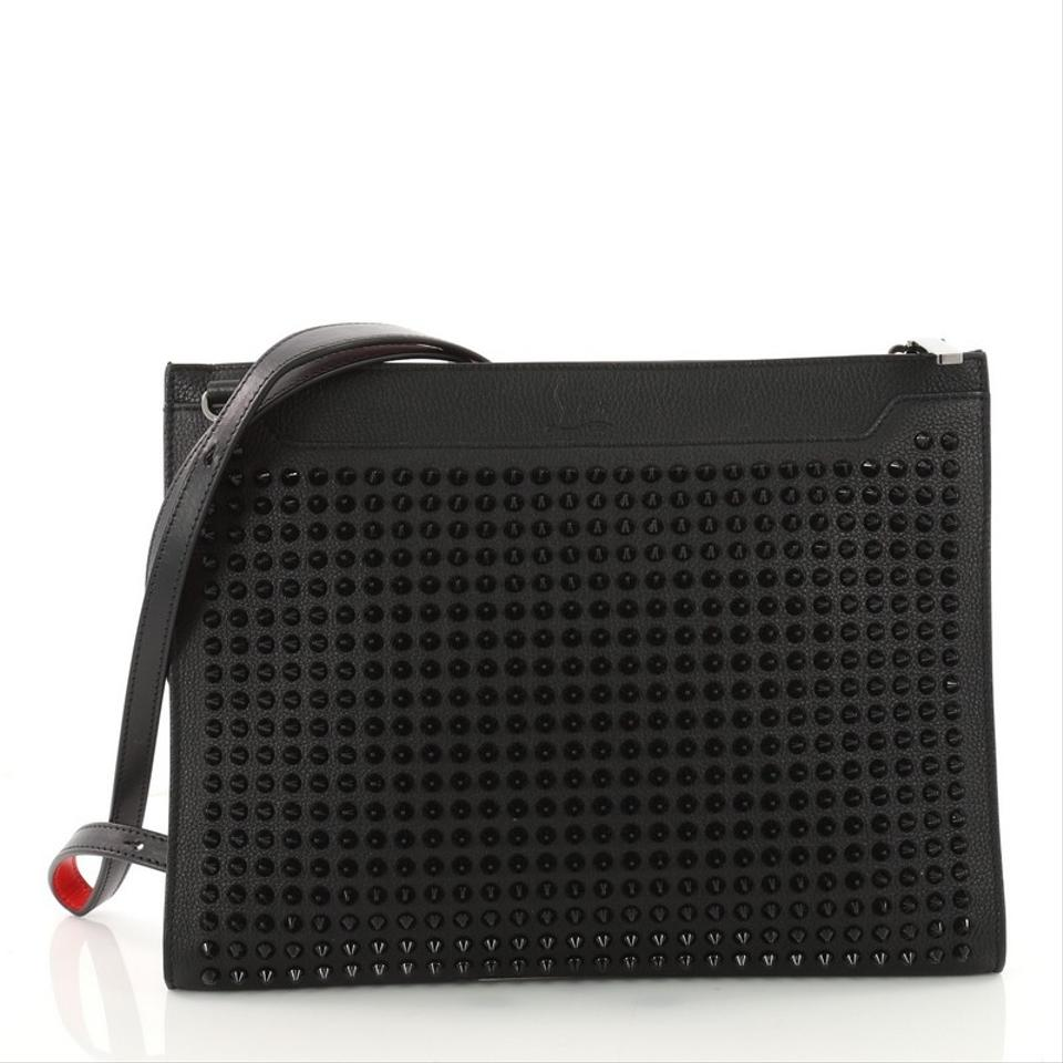 Loubiclutch Christian Leather Spiked Bag Body Black Louboutin Cross 7q4AnqzT