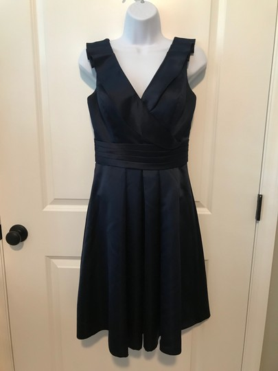 LightInTheBox Navy Satin V-neck Formal Bridesmaid/Mob Dress Size 4 (S)